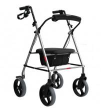 Andador de alumínio dobrável com 4 rodas, freio, assento almofada e baú porta objetos Mercur